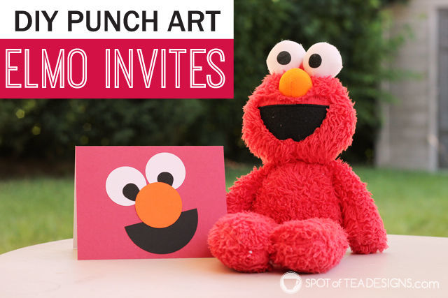 #DIY Elmo #SesameStreet #Party #Invitations using punched shapes | spotofteadesigns.com