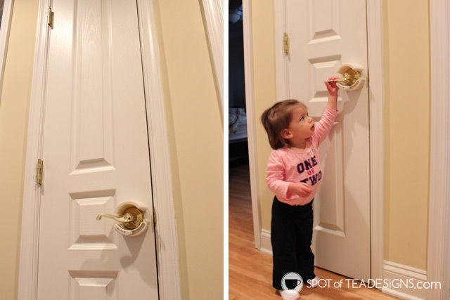 Recommended Babyproofing products we use in our home. Seen here: lever handle lock | spotofteadesigns.com