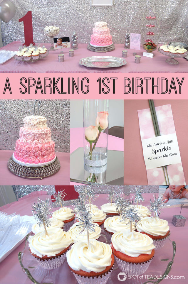 Sparkling First #Birthday #Party featuring a pink and silver sparkle color palette | spotofteadesigns.com