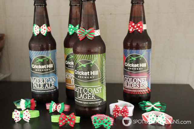 DIY #gift idea for men: #beer bottles decorated with painted bowtie pasta. @Decoart_inc | spotofteadesigns.com