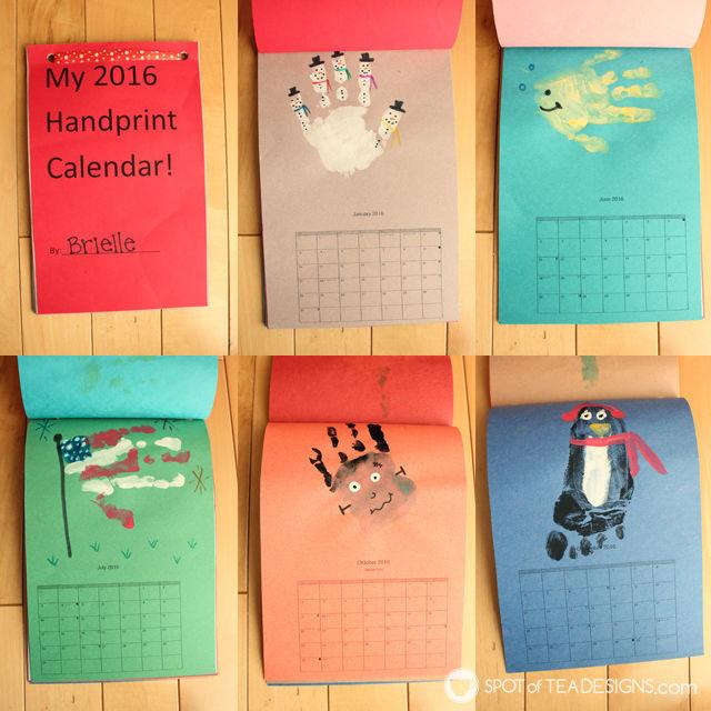 Handmade gifts - handprint calendar #kidscraft | spotofteadesigns.com