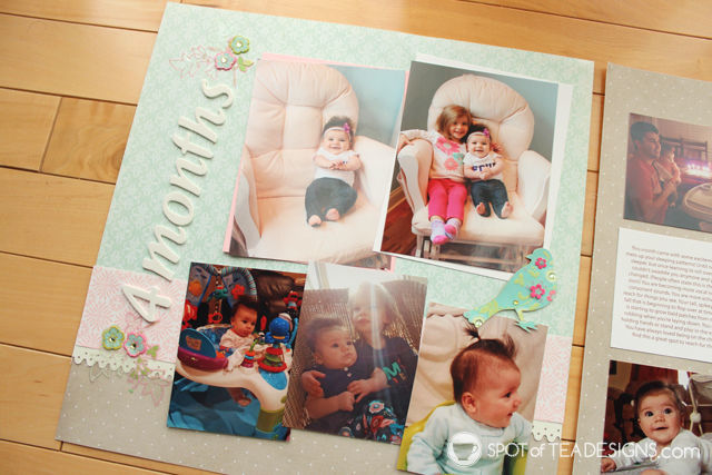Hailey's First Year - Baby #Scrapbook - Month 4   spotofteadesigns.com