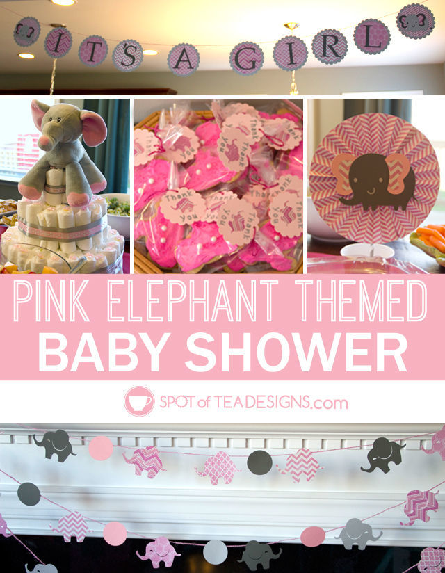 Adorable Pink elephant themed #babyshower for a mom to be   spotofteadesigns.com