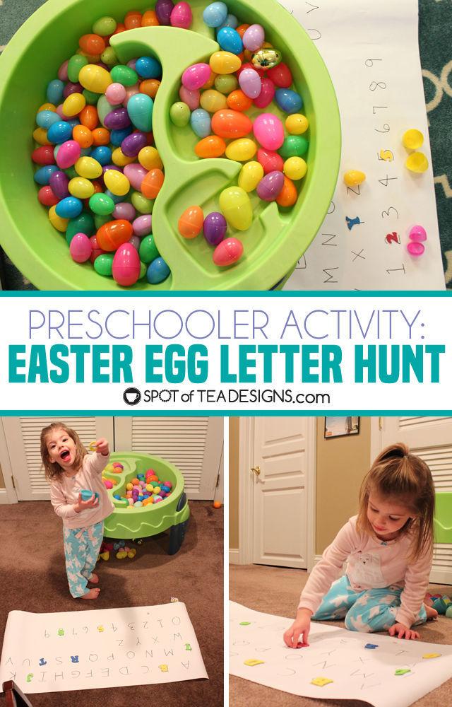 Preschooler activity: easter egg letter hunt. great all year, especially winter! | spotofteadesigns.com