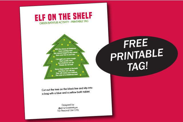 Elf on the shelf green bathtub activity printable tag | spotofteadesigns.com