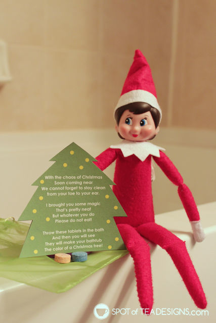 Elf on the shelf green bathtub activity printable tag | spotofteadesigns.com