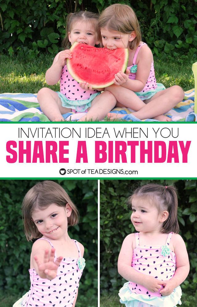 Invitation idea when you share a birthday | spotofteadesigns.com