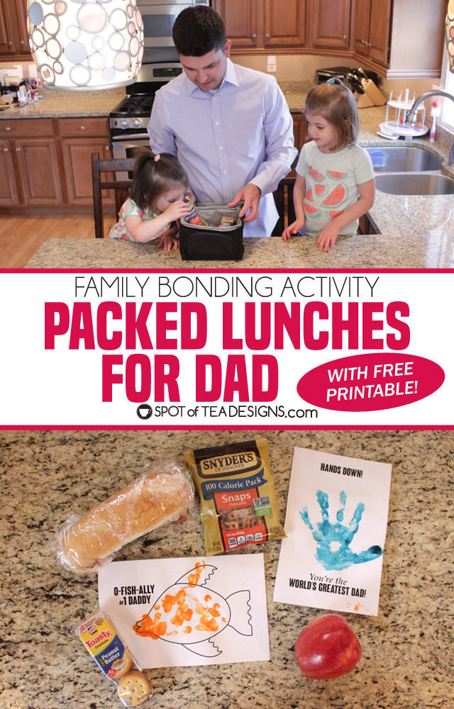 Family bonding activity - packing lunches for dad complete with handmade crafts (free printable download!) #packwithlove #ad | spotofteadesigns.com
