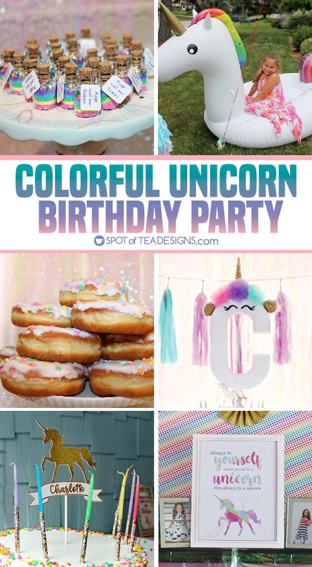 Colorful unicorn party - decorations and food ideas | spotofteadesigns.com