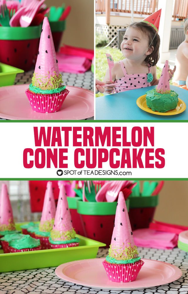 Watermelon Cone Cupcakes - bright and colorful summer dessert! | spotofteadesigns.com