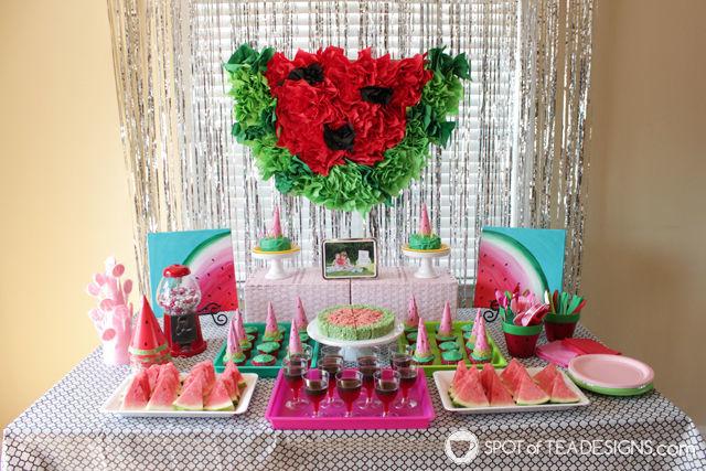 Watermelon paper napkin party backdrop tutorial - cheap party decor!   spotofteadesigns.com