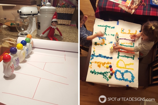 Elf on the shelf ideas for a 4 year old - dot to dot name activity | spotofteadesigns.com