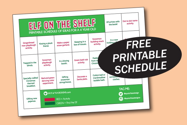 elf on the shelf ideas for a 4 year old - printable schedule for hiding places and activities | spotofteadesigns.com
