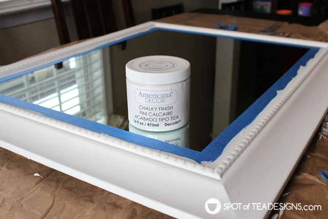 Entry way mirror makeover from black to blue to white | spotofteadesigns.com