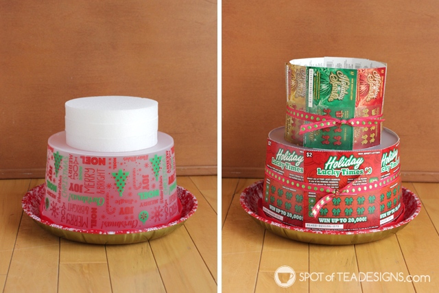 Step by step photo tutorial to make a DIY Lottery Ticket Cake featuring New Jersey Lottery instant win tickets and a secret spot to stash some sweets. #sponsored #NJLotteryHoliday | spotofteadesigns.com