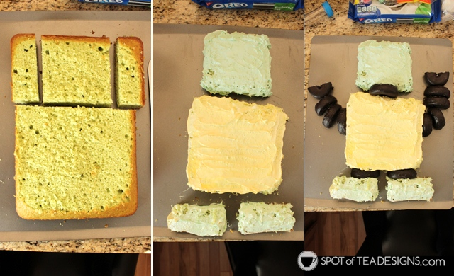 Turn a 13 x 9 sheet cake into a homemade robot cake following this tutorial | spotofteadesigns.com