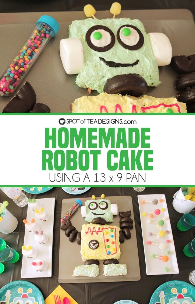 Pleasing Homemade Robot Cake Spot Of Tea Designs Funny Birthday Cards Online Alyptdamsfinfo