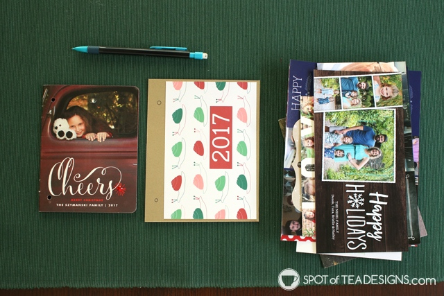 How to make a christmas card flip book from photo cards plus free printable covers   spotofteadesigns.com