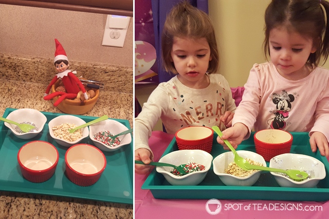 Elf on the shelf ideas - reindeer food making station | spotofteadesigns.com