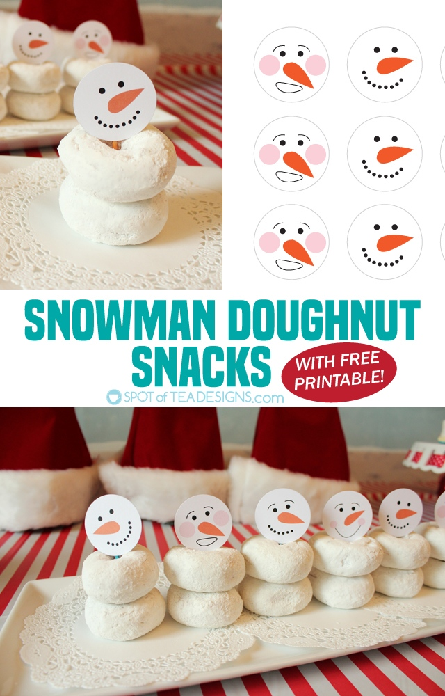 Whether you say donut or doughnut you know they're delicious! Add snowman heads to a stack with my free printable and create a cute alternative to cookies this party season! | spotofteadesigns.com