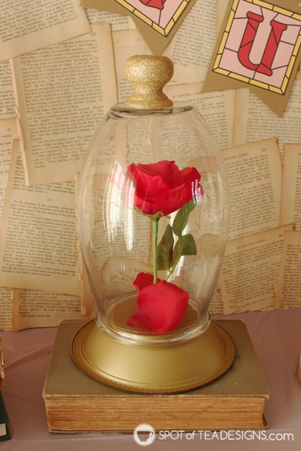 Beauty and the Beast Party Hacks - how to fake this bell jar from a vase! | spotofteadesigns.com