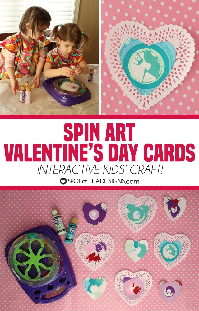 Spin art valentines day cards - a fun interactive kids craft   spotofteadesigns.com