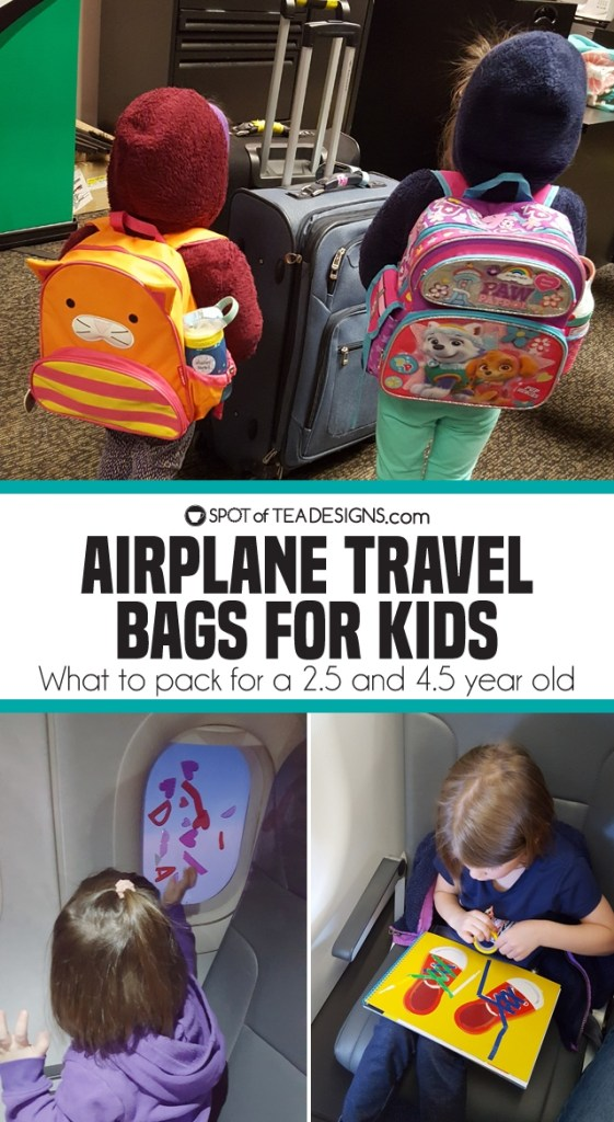 What to include inside airplane Travel Bags for Kids - age 4.5 and 2.5 | spotofteadesigns.com