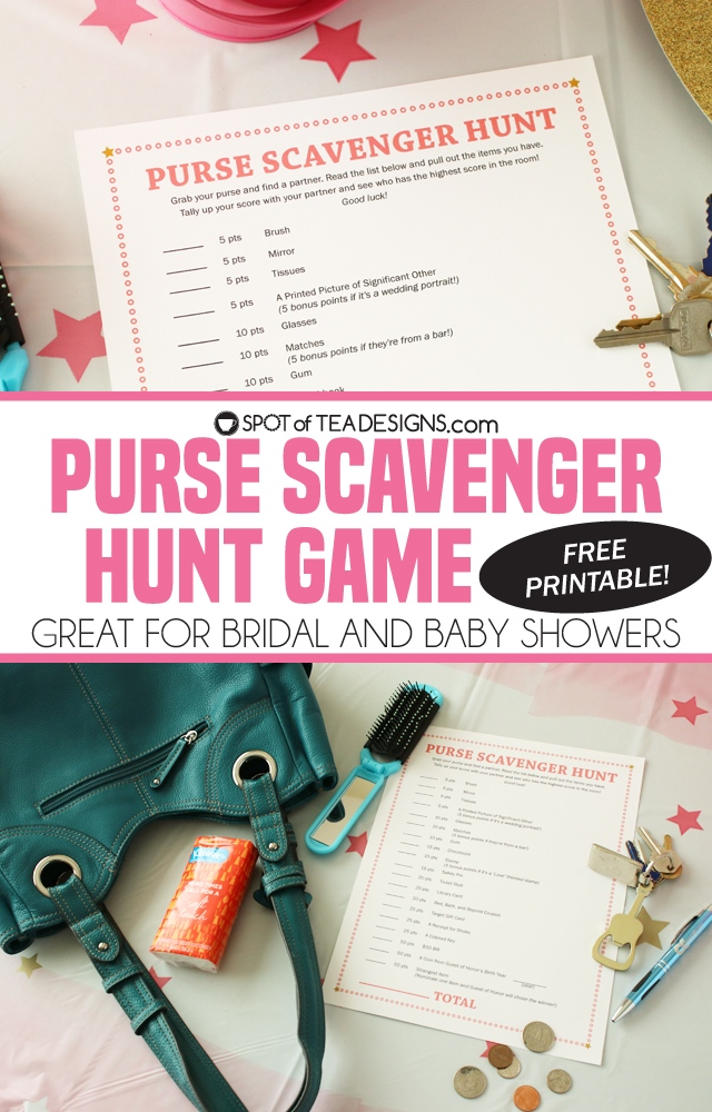 Purse scavenger hunt game with free printable - great for baby showers and bridal showers | spotofteadesigns.com