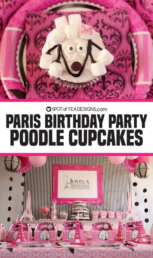 Party Birthday Party Poodle Cupcakes | spotofteadesigns.com