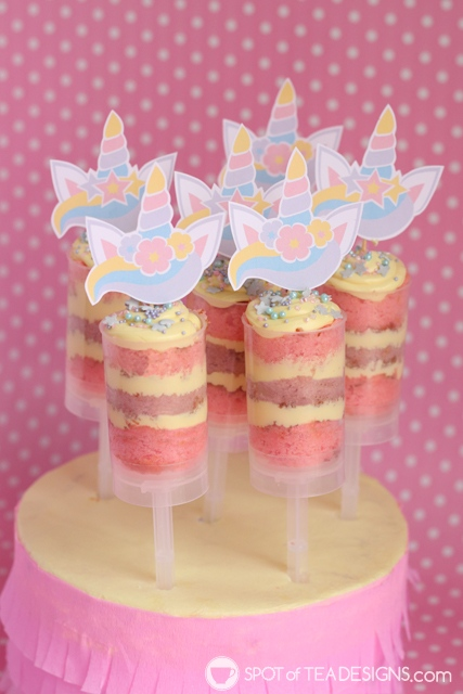Unicorn Cake Push Pops with printable toppers | spotofteadesigns.com