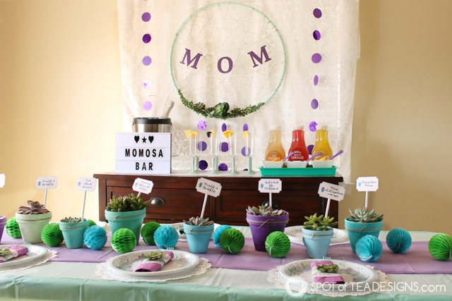 Mother's Day brunch with painted and distressed pots and paper succulent napkin rings | spotofteadesigns.com