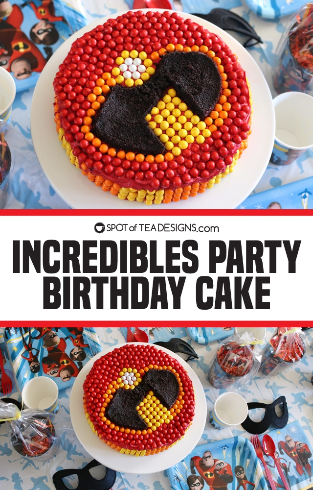 Incredibles Party Birthday Cake - tips to creating their logo with chocolates! | spotofteadesigns.com