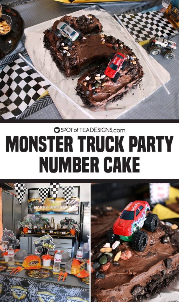 Monster Truck Party - Number Cake | spotofteadesigns.com