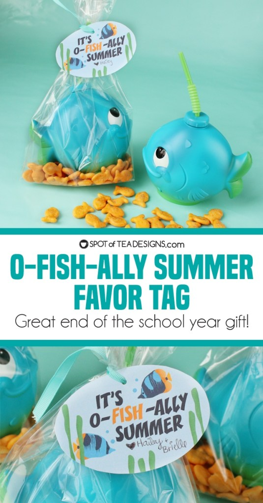 It's O-fish-ally summer favor tag - great end of the school year gift idea - great for students or teachers! | spotofteadesigns.com