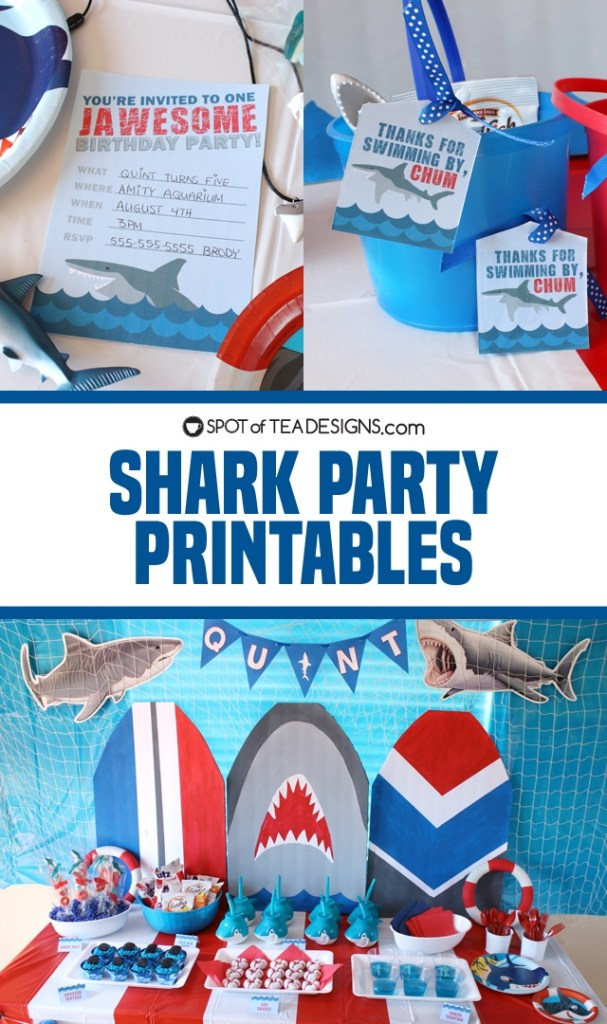 Shark party printables to make your shark birthday party jawsome! | spotofteadesigns.com
