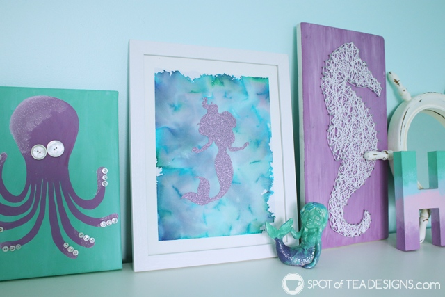 See how to turn their bleeding tissue paper craft into a beautiful piece of wall art for their bedroom! | spotofteadesigns.com