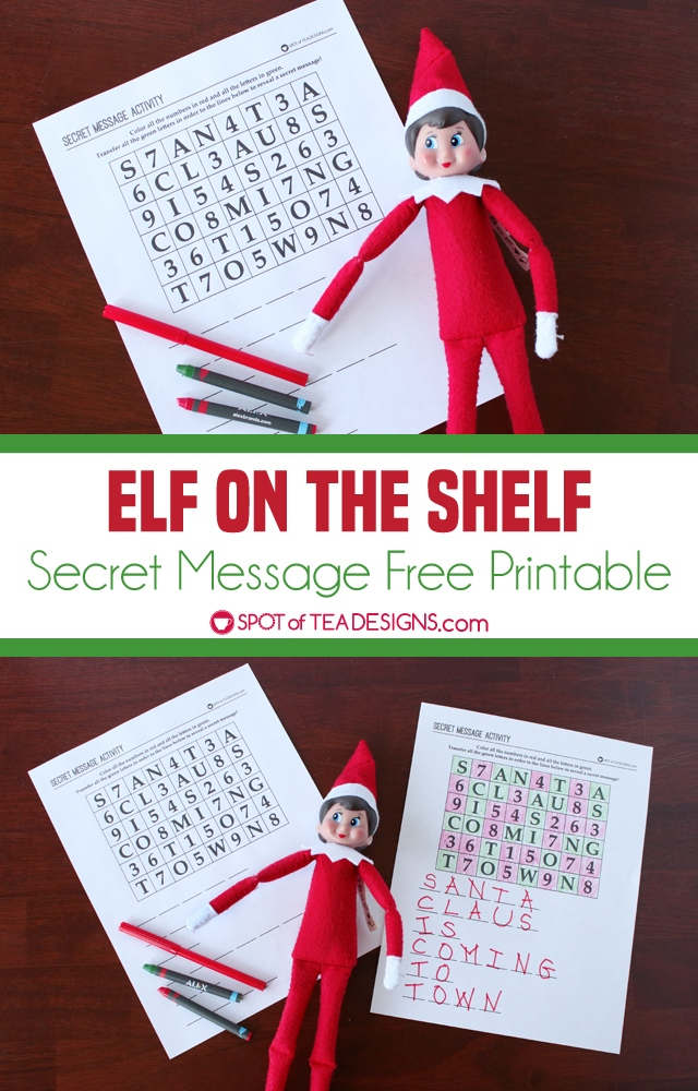Elf on the Shelf activity - secret message free printable | spotofteadesigns.com