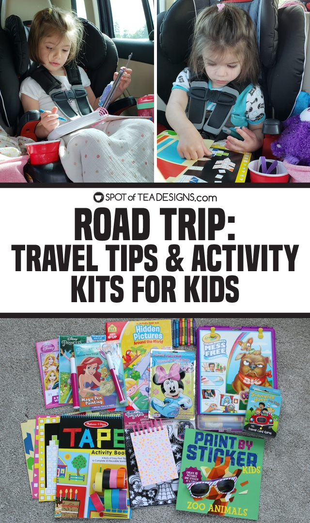 Road trip activities and crafts for kids - what to put in your bag of tricks to entertain on the road! | spotofteadesigns.com