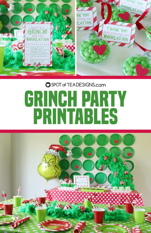 Grinch party printables, decorations and food ideas | spotofteadesigns.com