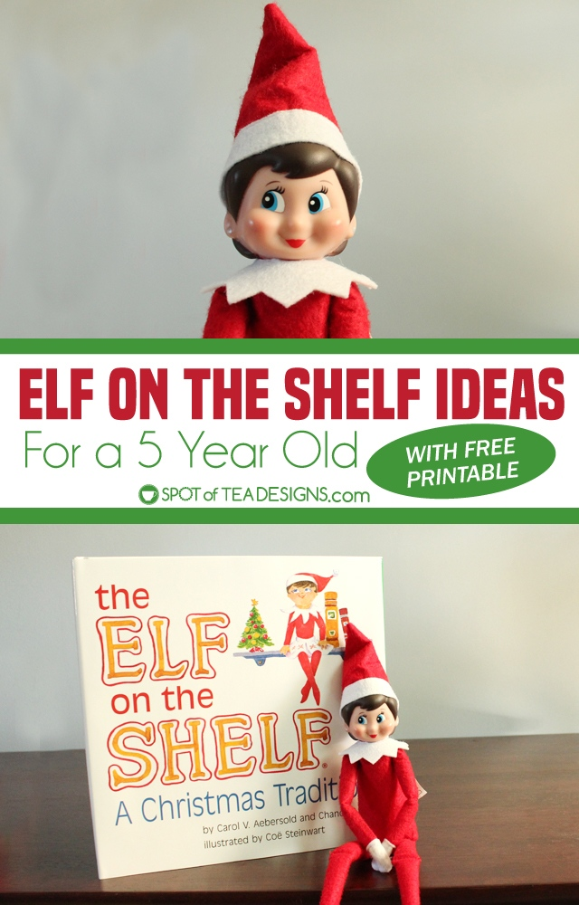 Elf on the shelf ideas for a 5 year old - download the free printable schedule and cross off the hiding places and activity ideas | spotofteadesigns.com
