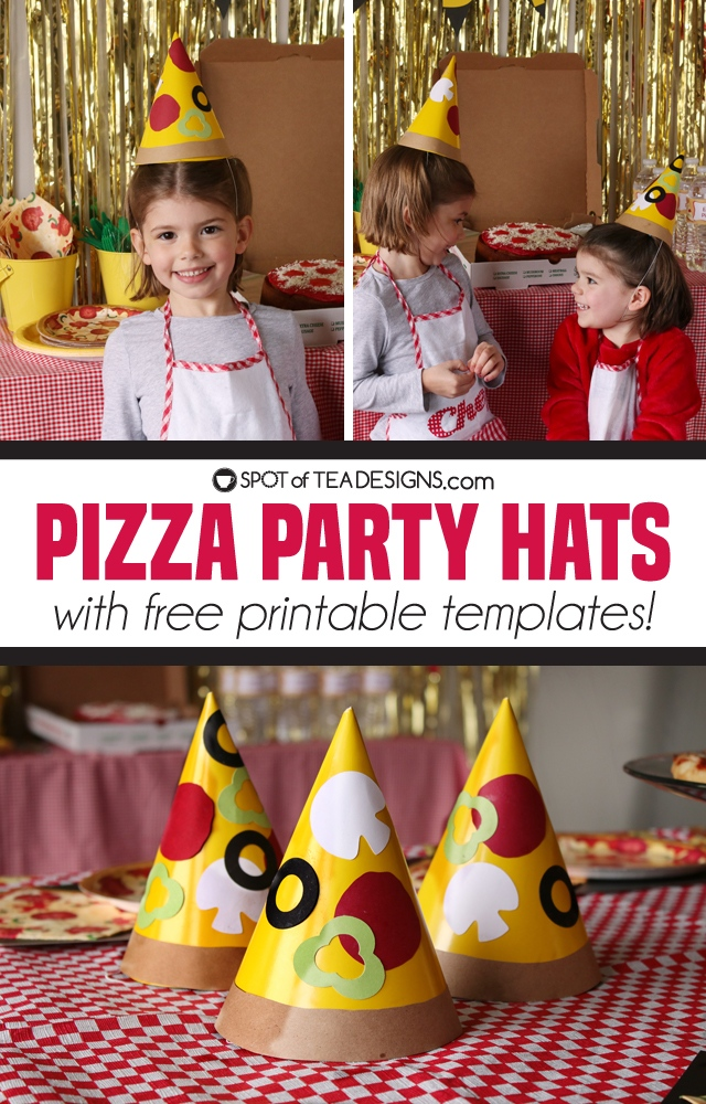 Pizza party hat with free printable templates | spotofteadesigns.com