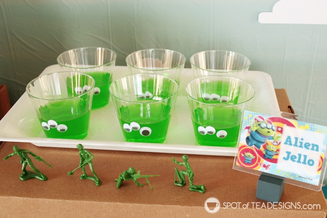 Cute Jello desserts - toy story party hack - 3 googly eyes turns it into the aliens!   spotofteadesigns.com