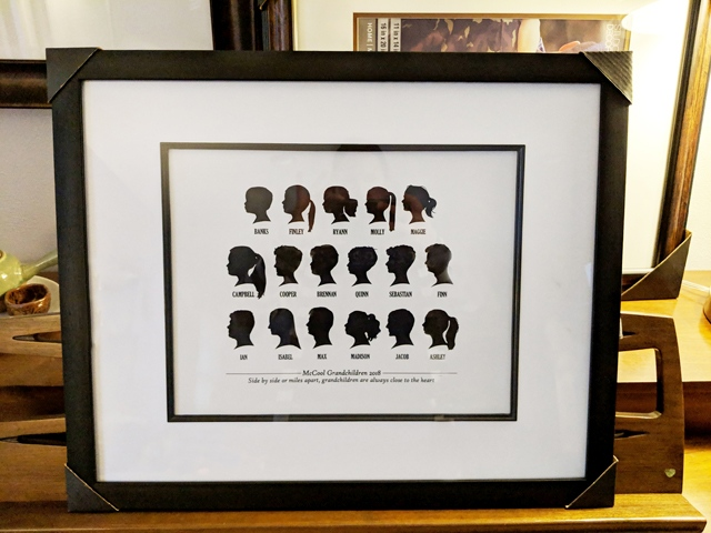 Spotofteadesigns.com reader's feature - custom digital silhouettes of 17 grandkids