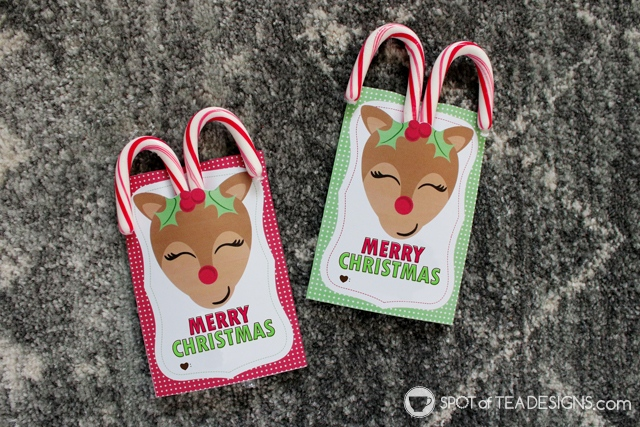 Reindeer candy cane favor tags - great for classmates, coworkers or any friend this holiday season | spotofteadesigns.com