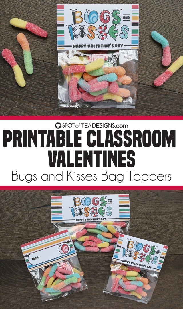 Printable classroom valentines - Bugs and Kisses bag toppers available in two sizes | spotofteadesigns.com