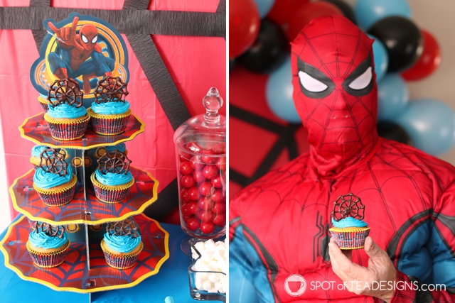 5+ budget friendly spider-man party hacks - chocolate spider web cupcake toppers   spotofteadesigns.com