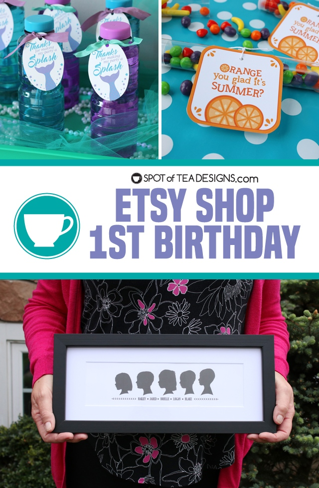 Spot of Tea Designs Etsy Shop First Birthday - discount code and giveaway! | spotofteadesigns.com