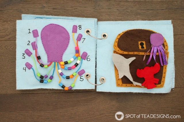 Under the Sea felt quiet book - complete with activities to build skills in color recognition, shape sorting and counting, as well as, pretend play interactions | spotofteadesigns.com