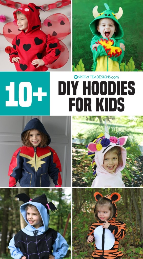 DIY Hoodies for kids - some no sew and some with free templates! | spotofteadesigns.com