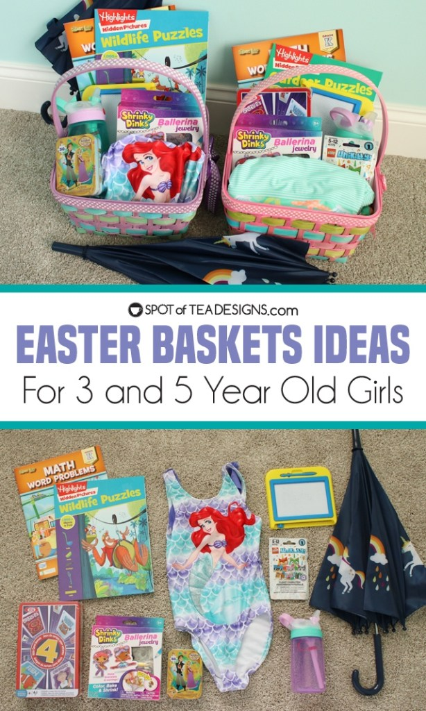 Easter basket ideas for girls - ages 3 and 5 | spotofteadesigns.com